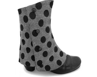 Polka dot spats, gray and black, reversible ankle boot cover