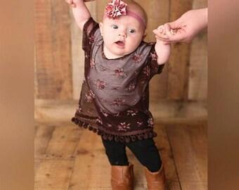 Plum Kaftan Top Baby Kaftan Toddler Kaftan Flower Top Pom Pom Trim