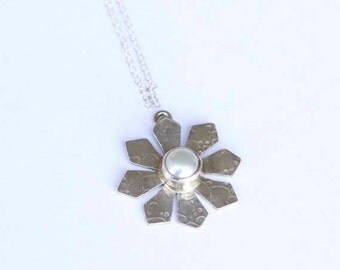 Sterling Silver Snowflake Pendant with Pearl