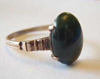 Sale! Antique rose gold jade ring, size 6 1/2