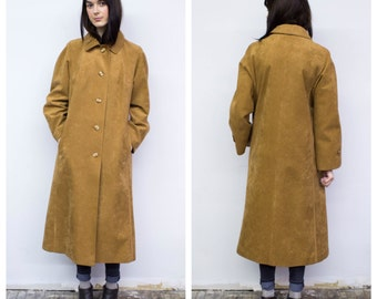 Vintage Long Faux Suede Coat 70s Boho Chic Faux Suede Long Jacket M Md Med A Line Tan Suede Duster Coat by Jacques Esterel Paris