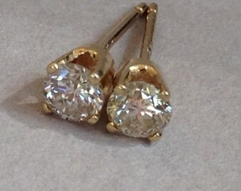 Reserved for Stella Diamond Stud 14K Gold Earrings
