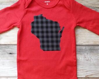 Wisconsin Baby Bodysuit-WI Baby Gender Neutral Gift-WI New Baby Gift-Wisconsin Baby Gift-Plaid Gift-Wisconsin Badger Baby-WI baby shower gif