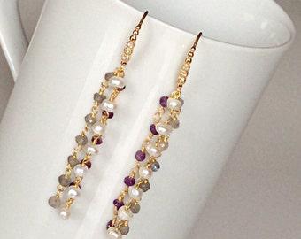 Multistrand earrings/ Fresh water pearl earrings/ Mixgemstone earrings/ Long drop earrings/ Gift idea/ Amethyst and pearl earrings