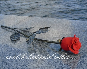 Single Iron Rose 6th Anniversary Present for Her, Hand Forged Metal Flower, Single Rose Metal Rose Hand Forged Flower Wedding Gift