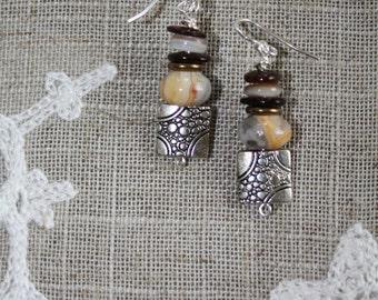 44 Jasper, shell and charm earrings, sterling ear wires, boho, artisan, dangle