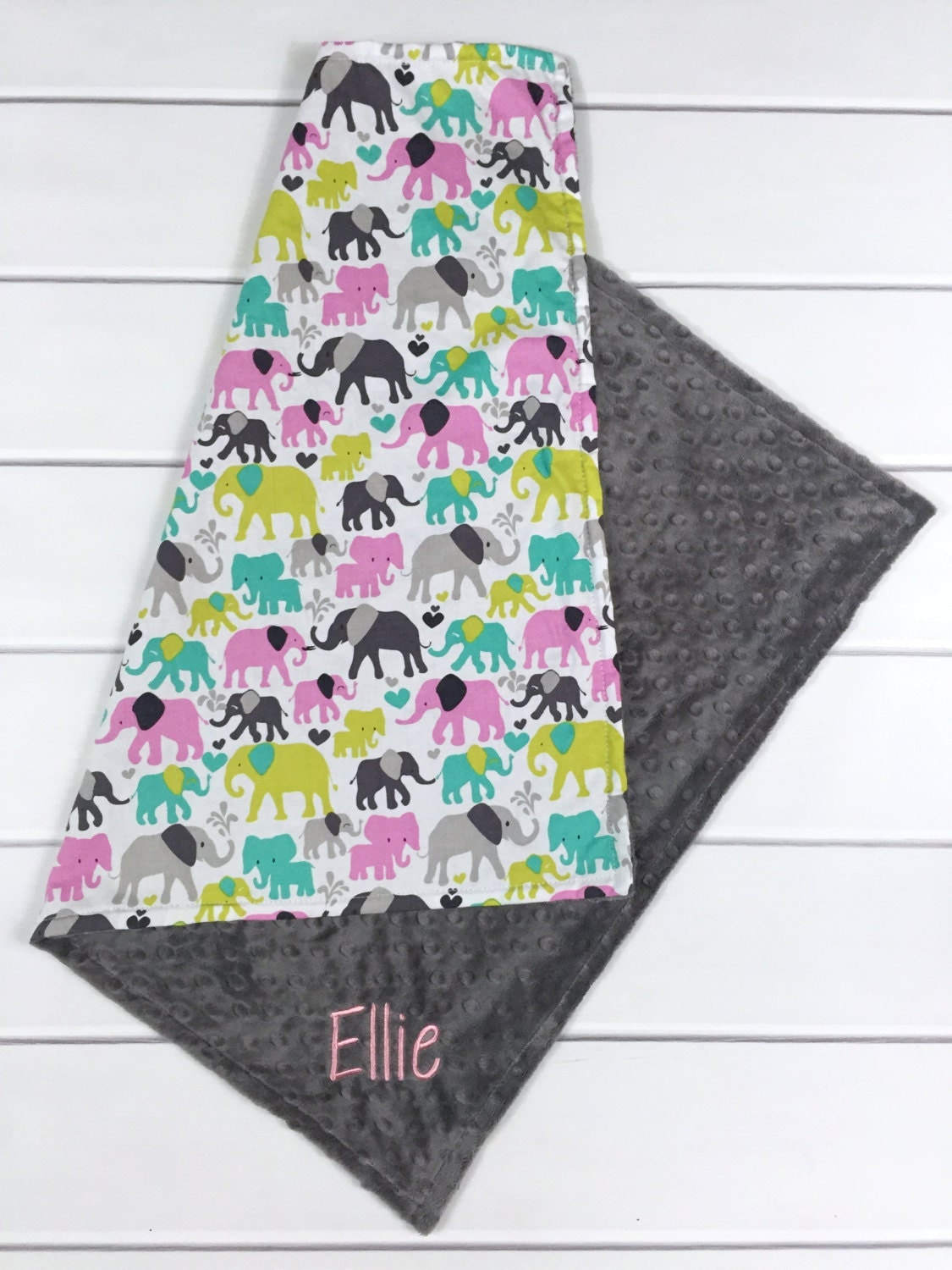 Baby Gift Ideas Personalized : New baby gift personalized girl blanket elephant