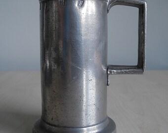 Antique French Pewter Quatre De Litre Measure Tankard 18th Century