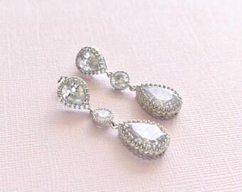 Dangle Wedding Earrings Cubic Zirconia Teardrop Earrings Bridal Crystal CZ Earrings Bridal Jewelry