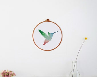 Geometric Hummingbird cross stitch pattern| Modern bird counted chart| Nature hoop art| Nursery animal design| Instant download pdf