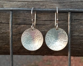 Pretty sterling silver drop earrings, silver dangle earrings, handmade sterling silver earrings, round earrings, gift for her, gift for wife