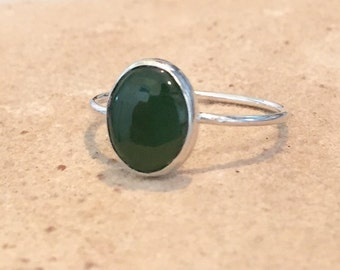 Sterling silver jade ring, oval stone ring, oval gemstone ring, stackable sterling silver ring, sterling silver ring, dainty ring