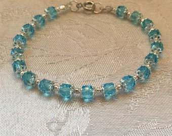 Blue Crystal Beaded Silver Tone Bracelet