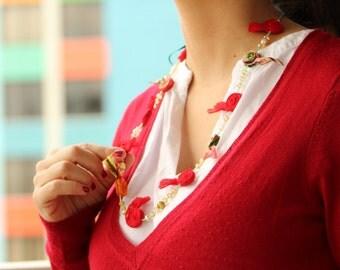 Red Fabric Necklace Red Necklace red fabric Jewelry Red Fabric Rosettes Textile Red Necklace Collar Rojo  m D152