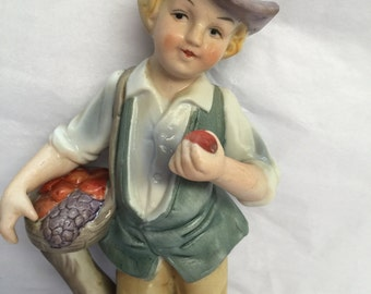 Classic Boy ( French?) holding basket and fruit (apple) with hat - Nice!