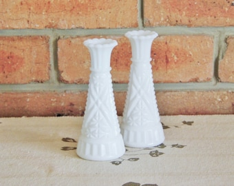 Vintage 1950s white milk opaque glass candlesticks