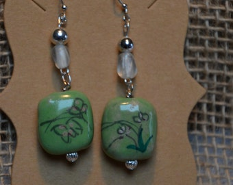 Green Porcelain Bead Earrings
