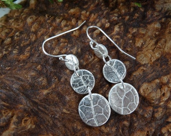 Long dangle silver earrings, real leaf circle drops, nature lovers, woodland   inspired, unique gift, ladies  gift