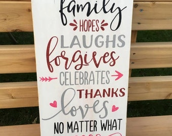 This Family Hand Painted Wood Sign - Family Rules Sign - Family Sign - Family Quote Sign - Family Subway Sign - Word Art - Family Decor