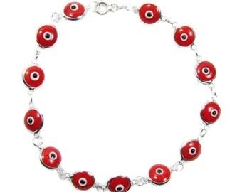 Red evil eye Beaded Bracelet  Greek Evil Eye Sterling Silver Bracelet.