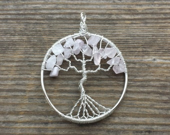 ROSE QUARTZ Tree Of Life Wire Wrapped Pendant Stone Natural Gemstone (type2)