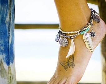 Ankle Bracelet - Bohemian Anklet - Boho Anklet - Feather Anklet - Shell Anklet - Gypsy Anklet - Gift for her - Silver Anklet - Silver Coins