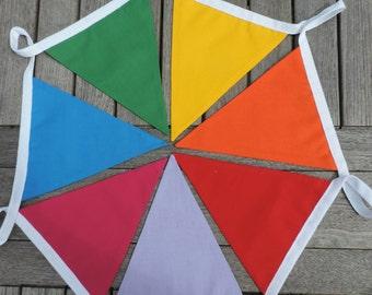 Rainbow Fabric Bunting  - Double Sided - Handmade