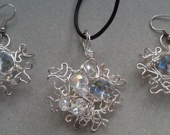 "Wire Jewelry Set, Handmade- Crystal, Silver, Design, Pendant Necklace (L- 18"")/Earrings (1.75"")"