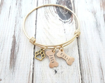 Personalized Dog Bracelet - Dog Bone - Paw Charm - Personalized Bangle - Gold Bracelet - Personalized Jewelry - Engraved - Mom to Dogs