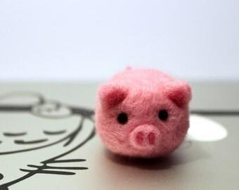 Needle Felted Mini Pig Plush, Keychain, Ornament, Christmas Gift