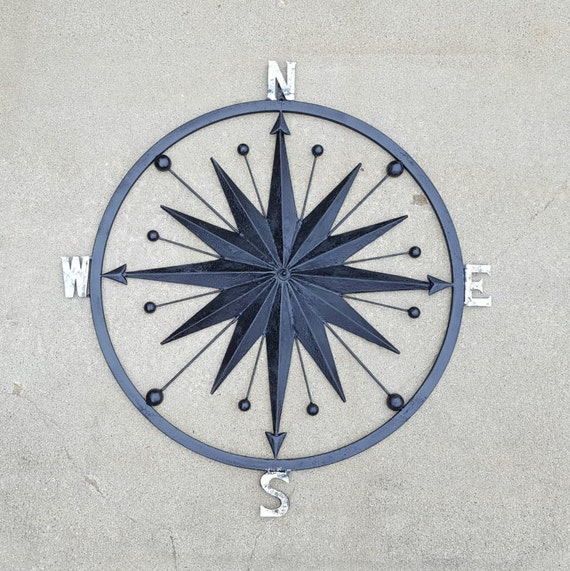 Items similar to nautical compass wall art nautical decor for Deco metal mural