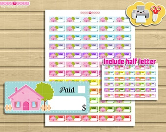 Doodle Mortgage Rent Due Printable stickers for Erin condren. Happy planner. Small boxes. Cute ...