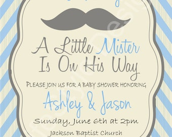 Its a Boy Baby Shower Invitation- Baby Boy Shower- A little Mister- Mustache- Blue- Printable Invite- Digital File