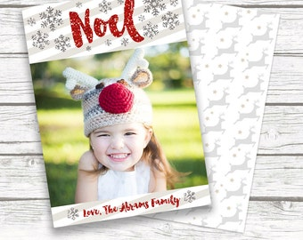 Christmas Noel Holiday Photo Card, Red Glitter, White and Gray Reindeer Snowflake Christmas Card, Custom Printed or Printable Matching Back