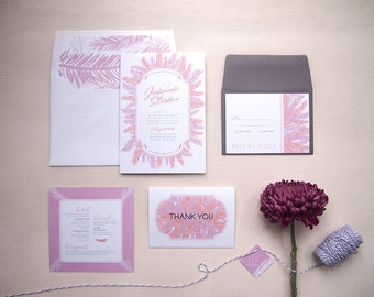 Wedding Invitation Suite, Whimsical, Boho, Detailed, Outdoors & Feathered, The Alayne design, - sample set