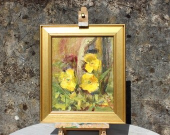 Yellow poppies loose style oil painting from life on canvas board, 10x12in, Welsh poppy flower painting
