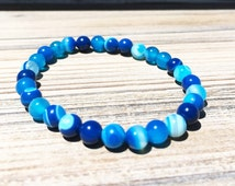 Blue Agate Bracelet, Blue Beaded Bracelet, Agate Beaded Bracelet, Mens Beaded Bracelet, Mens Bracelets, Mens Jewelry, Blue Stretch Bracelet