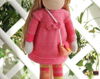DUNIASHA - waldorf doll handmade, knitted doll, soft doll, rag doll, kids gift