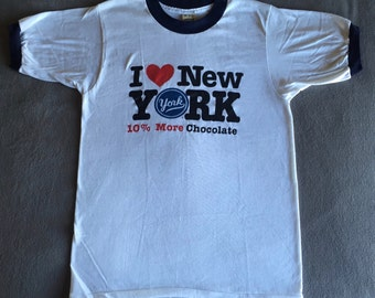 1980's I Heart New York Ringer Vintage T-Shirt VTG Peppermint Patties 10% More Chocolate