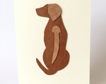 Rhodesian Ridgeback Dog Leather Art Cards Greeting Cards Fancy Cards Handmade in UK Blank Cards