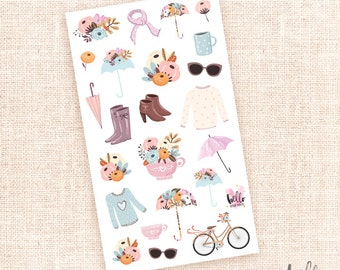 Rainy Days - decorative stickers / 23 die cut planner and journal stickers - Fall Winter Fashion