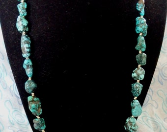 Turquoise Chunk and Silver Necklace
