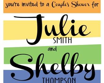 LGBTQ/Pride/Rainbow Couple's Wedding Shower Invitation