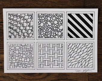 Original Ink on Paper - Abstract tessellation