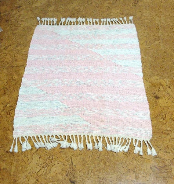 Handwoven Pink Rag Rug Wall Hanging With By Hertfordweaver