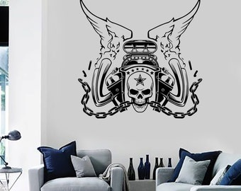 Wall Vinyl Decal Car Skull Engine Steam punk Auto Repair Tools Decor for Garage Man Cave (#1031di)