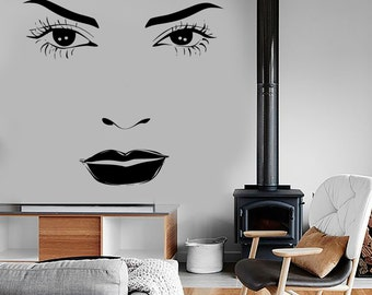 Wall Vinyl Decal Make Up Pretty Face Sexy Eyes Lips Beauty Hair Salon 1345dz
