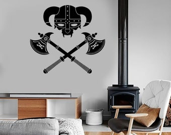 Wall Vinyl Viking Helmet Warrior Guaranteed Quality Decal Mural Art 1641dz