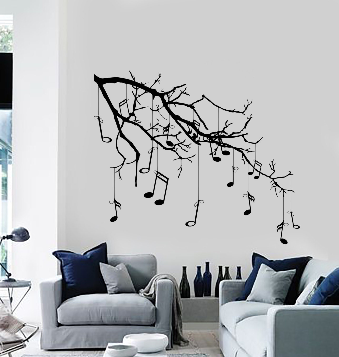 wall vinyl decal tree with branches hanging music notes modern zoom