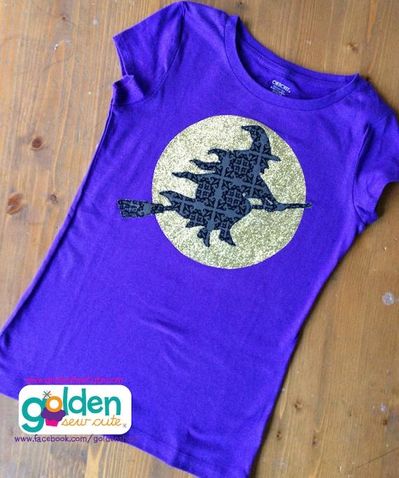 Halloween Witch and Full Moon Glitter Girl's Tee, Girl Shirt, Girl Dress